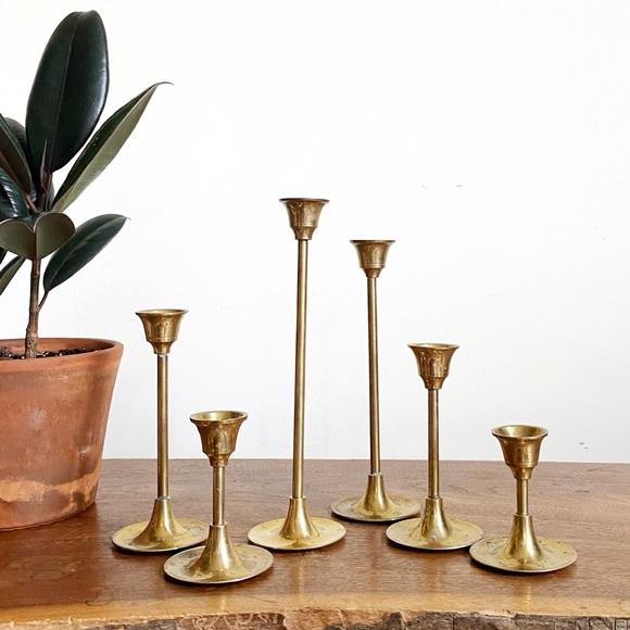 12 Mid Century Modern Graduated Brass Candlesticks